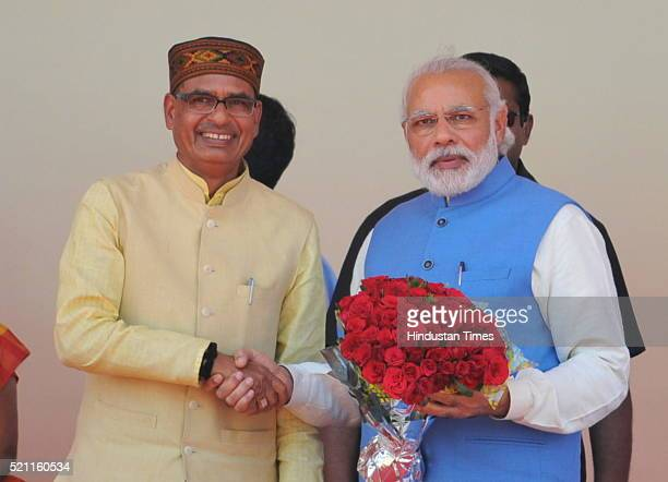 Prime Minister Narendra Modi with CM Shivraj Singh Chouhan during a public rally of Dalits on the 125th birth anniversary of Dr B R Ambedkar in Mhow...