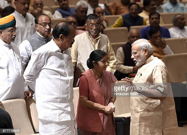 Prime Minister Narendra Modi with External Affairs Minister Sushma Swaraj I B Minister Venkaiah Naidu and others at the BJP Parliamentary Party...