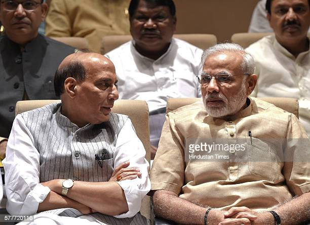 Prime Minister Narendra Modi with Home Minister Rajnath Singh and others at the BJP Parliamentary Party Meeting during the Monsoon Session at...