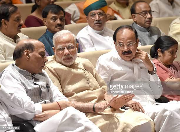 Prime Minister Narendra Modi with Home Minister Rajnath Singh External Affairs Minister Sushma Swaraj I B Minister Venkaiah Naidu and others at the...