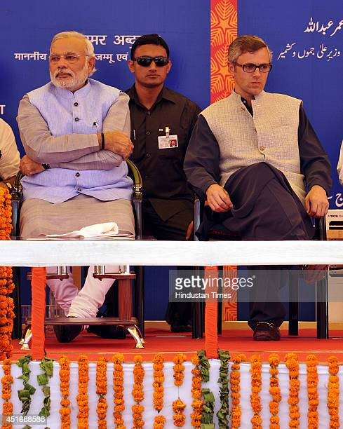 Prime Minister Narendra Modi with Jammu and Kashmir Chief Minister Omar Abdullah after the inauguration of the KatraUdhampur rail link on July 4 2014...