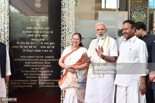 Prime Minister Narendra Modi with Lok Sabha Speaker Sumitra Mahajan and her Deputy M Thambidurai inaugurates the Parliament House Annexe Extension...