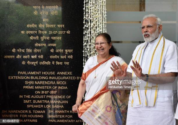 Prime Minister Narendra Modi with Lok Sabha Speaker Sumitra Mahajan inaugurates the Parliament House Annexe Extension Building on July 31 2017 in New...
