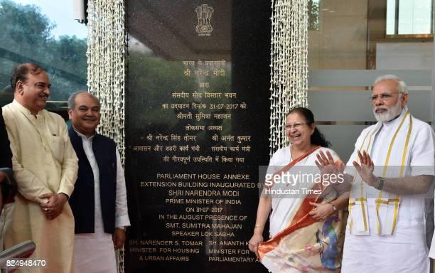 Prime Minister Narendra Modi with Lok Sabha Speaker Sumitra Mahajan Parliamentary Affairs Minister Ananth Kumar and Housing and Urban Development...