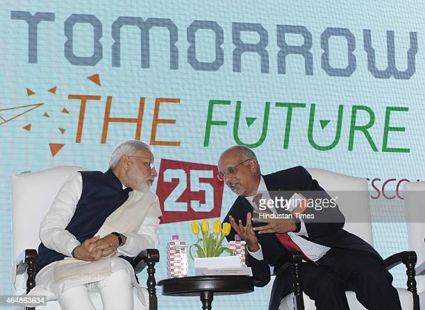 Prime Minister Narendra Modi with Nasscom Chairman R Chandrasekaran during the 25th Foundation Day of Nasscom event on silver jubilee of Indian...