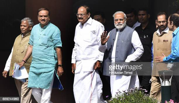 Prime Minister Narendra Modi with other ministers arrives for attending the Parliament Budget Session after the BJP Parliamentary Party Meeting at...