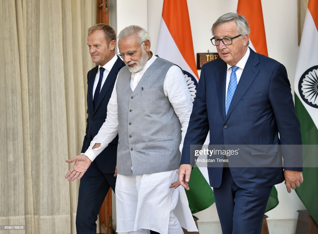Prime Minister Narendra Modi (center) with President of the European Council Donald Tusk (left) and President of the European Commission Jean-Claude Juncker arrives for a meeting on October 6, 2017 in New Delhi, India.