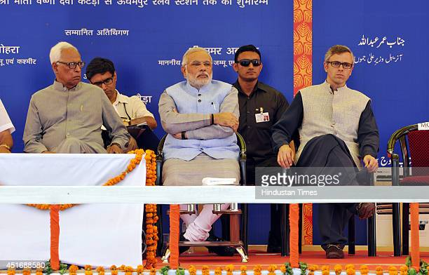 Prime Minister Narendra Modi with Railway Minister Prime Minister Narendra Modi with Jammu and Kashmir Chief Minister Omar Abdullah and Jammu and...