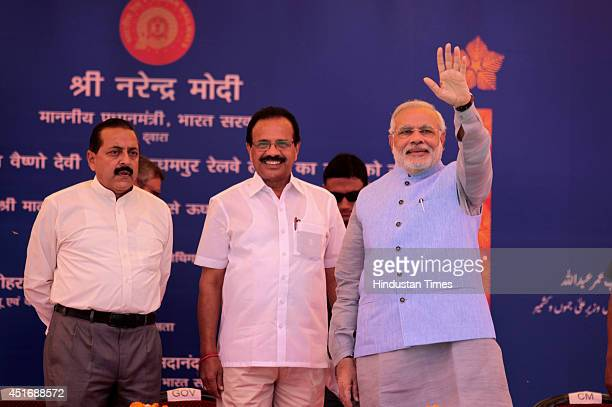 Prime Minister Narendra Modi with Railway Minister Sadananda Gawda and Minister of State Jitender Singh during the inauguration ceremony at Katra...