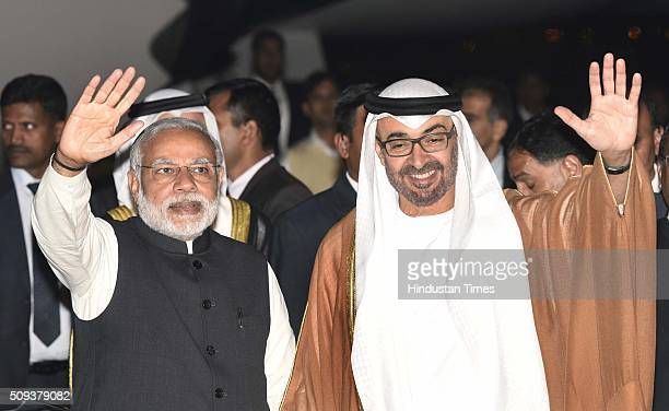 Prime Minister Narendra Modi with Sheikh Mohammed bin Zayed Al Nahyan Crown Prince of Abu Dhabi after he arrived here on a threeday visit at Palam...