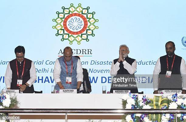 Prime Minister Narendra Modi with Union Home Minister Rajnath Singh state Home Minister Kiren Rijiju and State Home Minister Hansraj Gangaram Ahir...