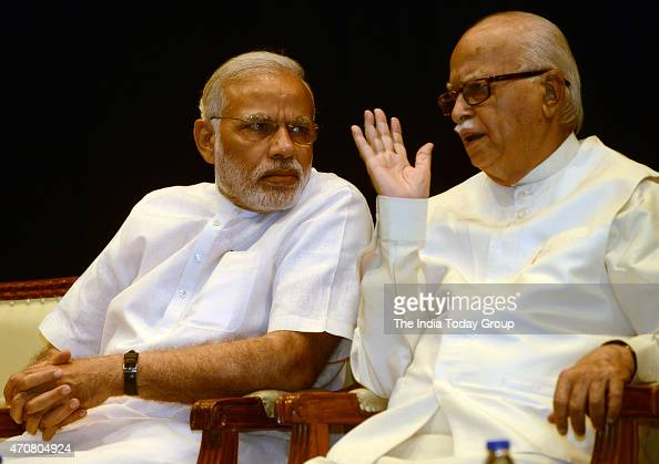 Prime Minister Narendra Modi with veteran BJP leader LK Advani during the BJP parliamentary board meeting in New Delhi