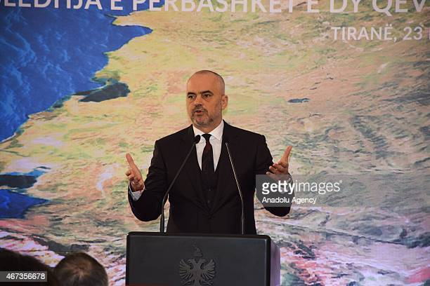 Prime Minister of Albania Edi Rama and Kosovo's Prime Minister Isa Mustafa hold a joint press conference after the 2nd joint governments meeting in...
