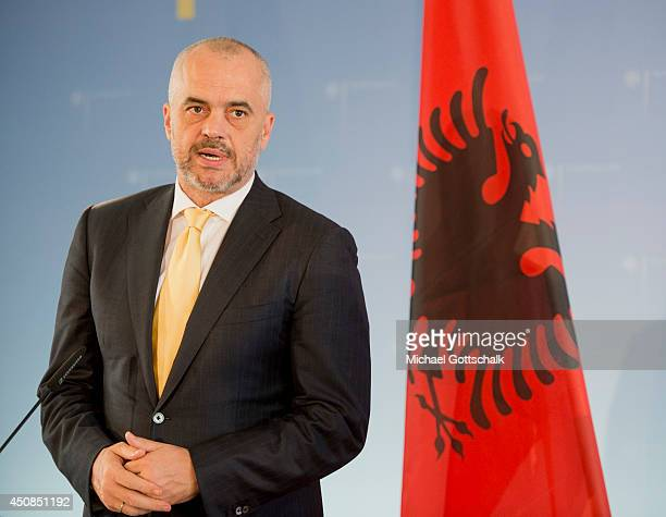 Prime Minister of Albania Edi Rama attends a meeting with journalists prior a meeting with German Foreign Minister FrankWalter Steinmeier on June 18...