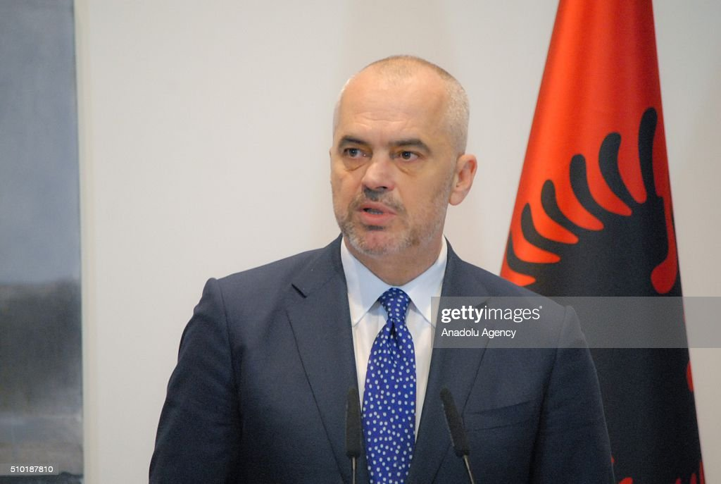 Prime Minister of Albania Edi Rama gestures during a joint press conference with United States Secretary of State John Kerry (not seen), following their meeting, in Tirana, Albania on February 14, 2016.