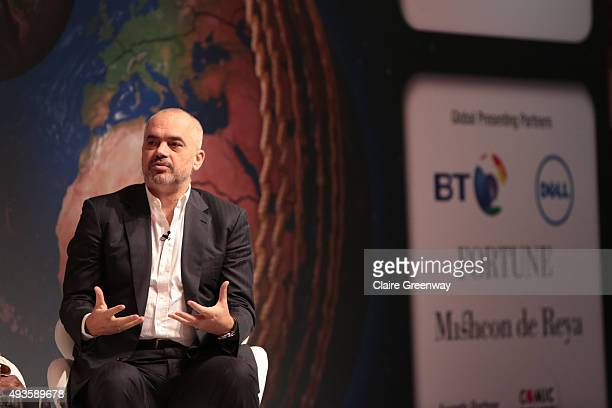 Prime Minister of Albania Edi Rama takes part in a panel discussion on how Sport has the power to go 'Beyond the Divide' during Day three of the...