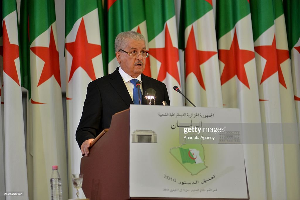 Prime Minister of Algeria Abdelmalek Sellal delivers a speech during the parliament session as Algerian Parliament approves constitutional changes that proposed by president Abdelaziz Bouteflika, in Algiers, Algeria on February 7, 2016.