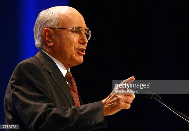 Prime Minister of Australia John Howard speaks during the Brisbane leg of the Coalition Party election campaign launch at the Queensland Performing...