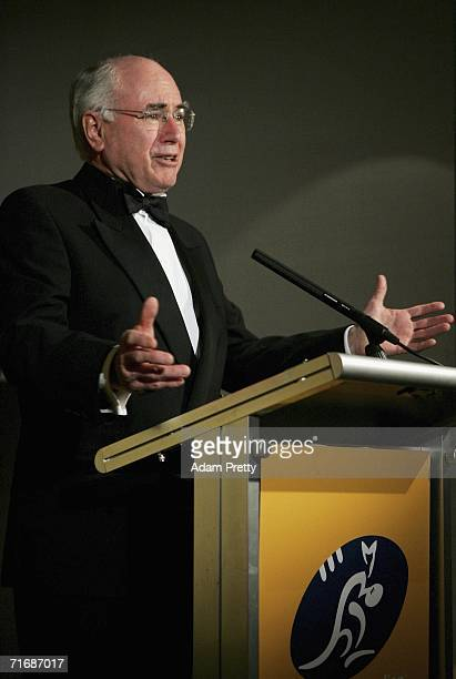 Prime Minister of Australia John Howard speaks to the attendees at The George Gregan Dinner at ARIA Restaurant on August 21 2006 in Sydney Australia