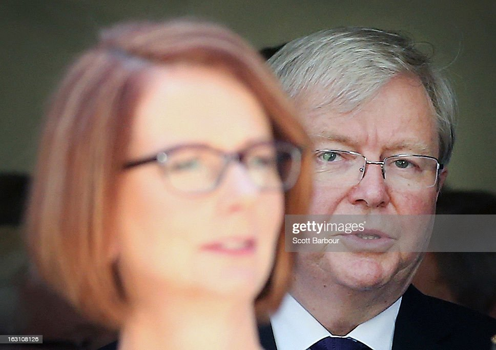 Prime Minister of Australia <a gi-track='captionPersonalityLinkClicked' href=/galleries/search?phrase=Julia+Gillard&family=editorial&specificpeople=787281 ng-click='$event.stopPropagation()'>Julia Gillard</a> (L) and former Prime Minister of Australia <a gi-track='captionPersonalityLinkClicked' href=/galleries/search?phrase=Kevin+Rudd&family=editorial&specificpeople=707751 ng-click='$event.stopPropagation()'>Kevin Rudd</a> look on as they leave the State Funeral for former speaker Joan Child on March 5, 2013 in Melbourne, Australia. Joan Child, the first female speaker of federal parliament passed away on February 23 at the age of 91.