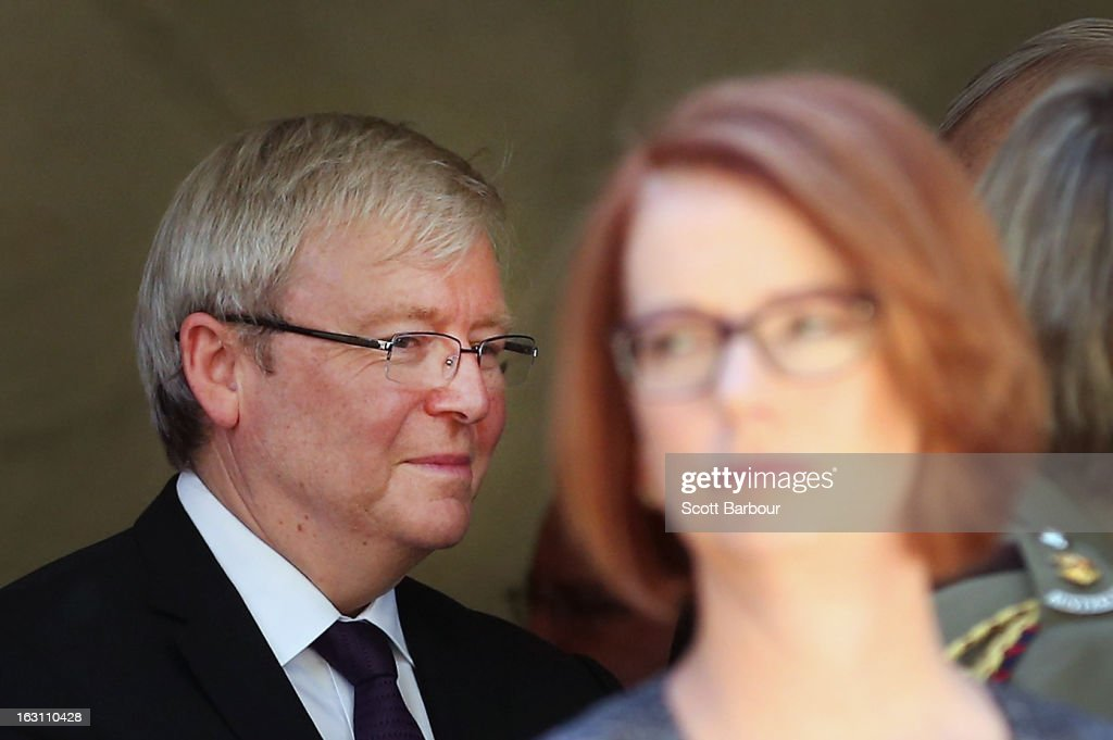 Prime Minister of Australia <a gi-track='captionPersonalityLinkClicked' href=/galleries/search?phrase=Julia+Gillard&family=editorial&specificpeople=787281 ng-click='$event.stopPropagation()'>Julia Gillard</a> (R) and former Prime Minister of Australia <a gi-track='captionPersonalityLinkClicked' href=/galleries/search?phrase=Kevin+Rudd&family=editorial&specificpeople=707751 ng-click='$event.stopPropagation()'>Kevin Rudd</a> look on as they leave the State Funeral for former speaker Joan Child on March 5, 2013 in Melbourne, Australia. Joan Child, the first female speaker of federal parliament passed away on February 23 at the age of 91.