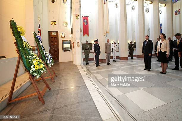 Prime Minister of Australia Julia Gillard and Prime Minister of New Zealand John Key lay wreaths during a wreath laying ceremony at the National War...