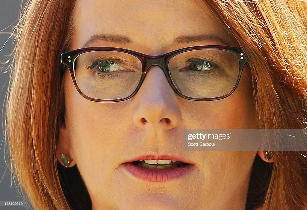 Prime Minister of Australia <a gi-track='captionPersonalityLinkClicked' href=/galleries/search?phrase=Julia+Gillard&family=editorial&specificpeople=787281 ng-click='$event.stopPropagation()'>Julia Gillard</a> arrives to attend the State Funeral for former speaker Joan Child on March 5, 2013 in Melbourne, Australia. Joan Child, the first female speaker of federal parliament passed away on February 23 at the age of 91.