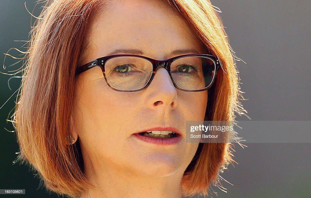 Prime Minister of Australia Julia Gillard arrives to attend the State Funeral for former speaker Joan Child on March 5, 2013 in Melbourne, Australia. Joan Child, the first female speaker of federal parliament passed away on February 23 at the age of 91.