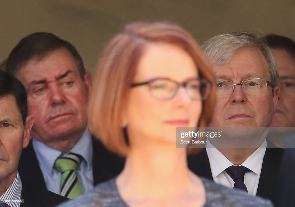 Prime Minister of Australia Julia Gillard former Prime Minister of Australia Kevin Rudd and former Speaker Peter Slipper look on as they leave the...