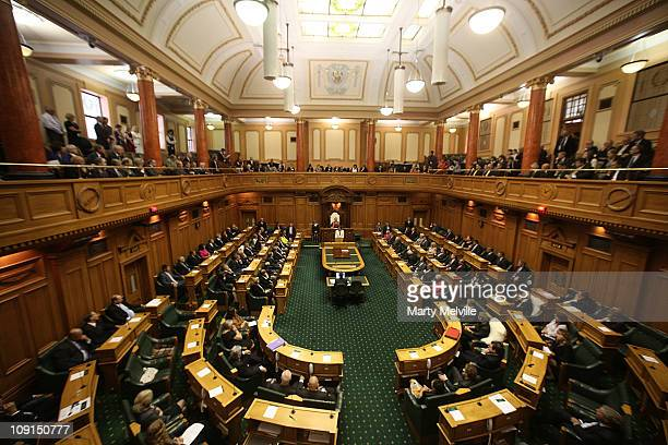 Prime Minister of Australia Julia Gillard speaks during an address to the House at Parliament on February 16 2011 in Wellington New Zealand This is...