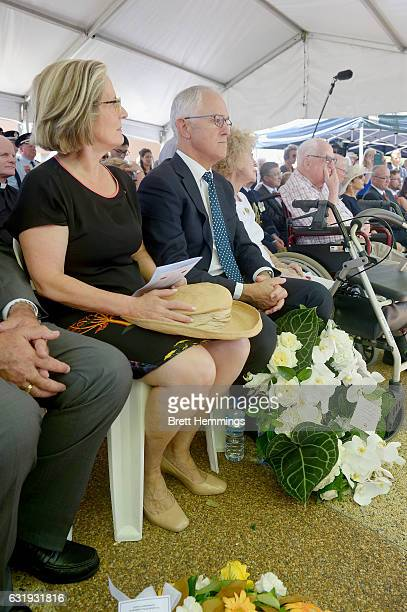 Prime Minister of Australia Malcolm Turnbull and Ms Lucy Turnbull attend the 40th anniversary memorial service for the Granville train disaster on...