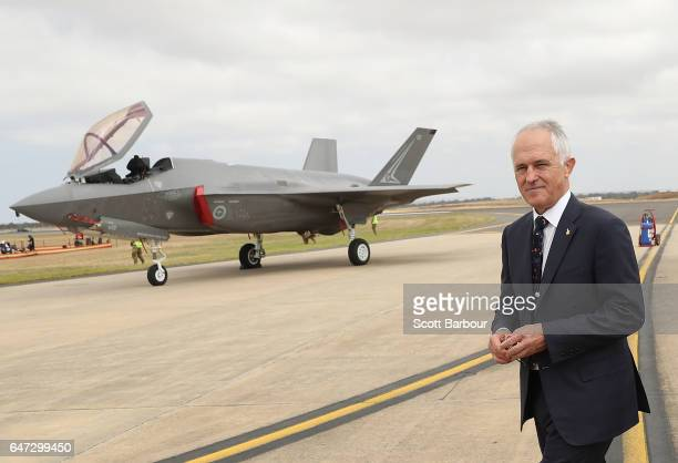 Prime Minister of Australia Malcolm Turnbull inspects a Joint Strike Fighter F35 as he attends the Avalon Airshow on March 3 2017 in Avalon Australia...