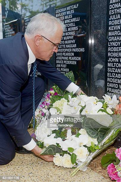 Prime Minister of Australia Malcolm Turnbull lays a wreath at the memorial wall during the 40th anniversary memorial service for the Granville train...
