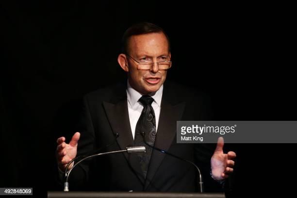 Prime Minister of Australia Tony Abbott speaks during the Australian Socceroos Official Farewell Dinner at Sydney Opera House on May 22 2014 in...