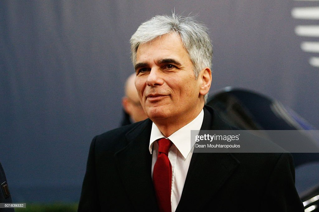 Prime Minister of Austria, <a gi-track='captionPersonalityLinkClicked' href=/galleries/search?phrase=Werner+Faymann&family=editorial&specificpeople=4101130 ng-click='$event.stopPropagation()'>Werner Faymann</a> arrives for The European Council Meeting In Brussels held at the Justus Lipsius Building on December 18, 2015 in Brussels, Belgium. European leaders are meeting to discuss David Camerons proposed EU reforms, as well as focussing on the migrant crisis, the fight against terrorism and climate change.