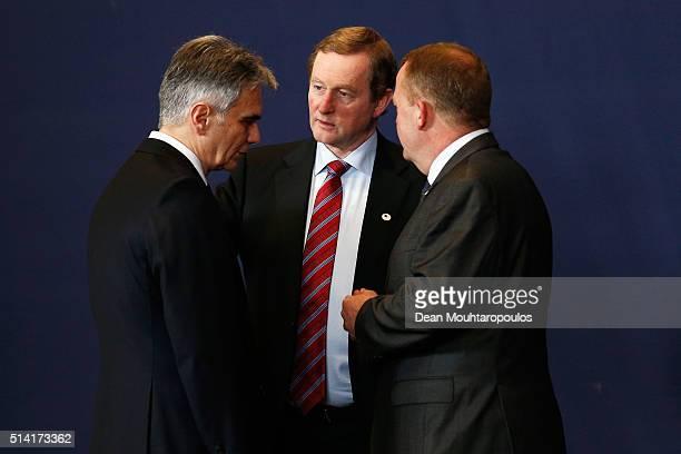 Prime Minister of Austria Werner Faymann The Taoiseach of Ireland Enda Kenny and Prime minister of Denmark Lars Lokke Rasmussen speak after the...