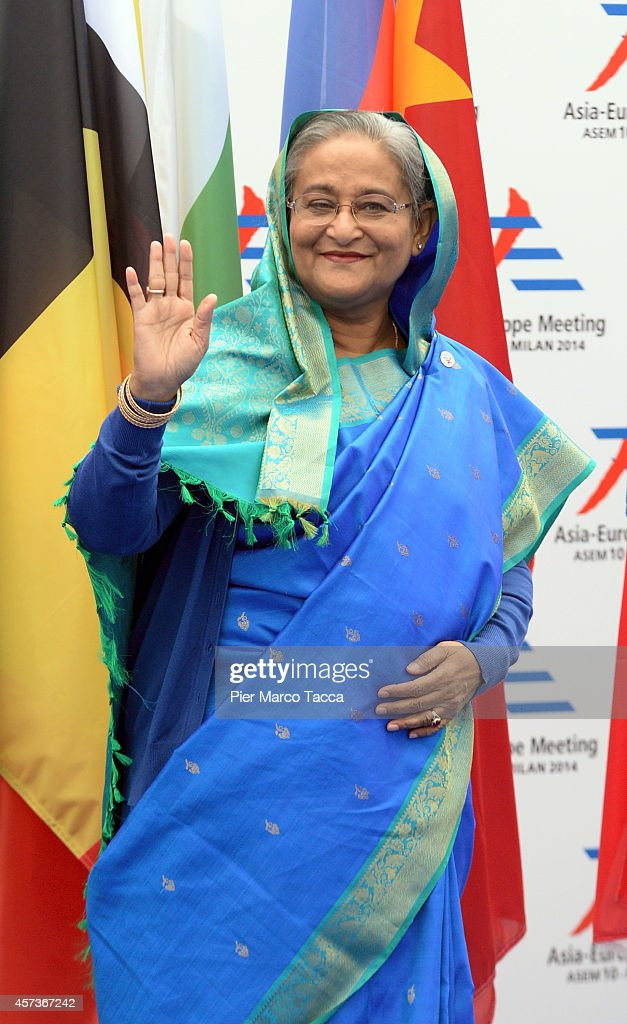 Prime Minister of Bangladesh Sheikh Hasina arrives at the10 ASEM Summit with 50 Heads Of State From Europe And Asia on October 16, 2014 in Milan, Italy.The Asia-Europe Meeting (ASEM) was initiated in 1996 when the ASEM leaders met in Bangkok, Thailand. ASEM is an informal trans-regional platform for dialogue and cooperation between Asia and Europe