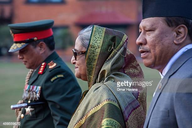 Prime Minister of Bangladesh Sheikh Hasina arrives at Tribhuvan International Airport for the 18th SAARC Summit on November 25 2014 in Kathmandu...