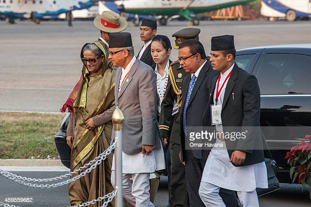 Prime Minister of Bangladesh Sheikh Hasina arrives at Tribhuvan International Airport for the 18th SAARC Summit on November 25 2014 in Kathmandu...