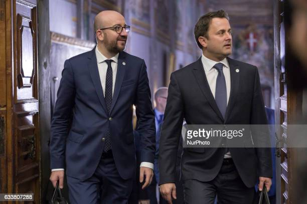 Prime Minister of Belgium Charles Michel and Prime Minister of Luxembourg Xavier Bettel during the first Working Session of European Council at...