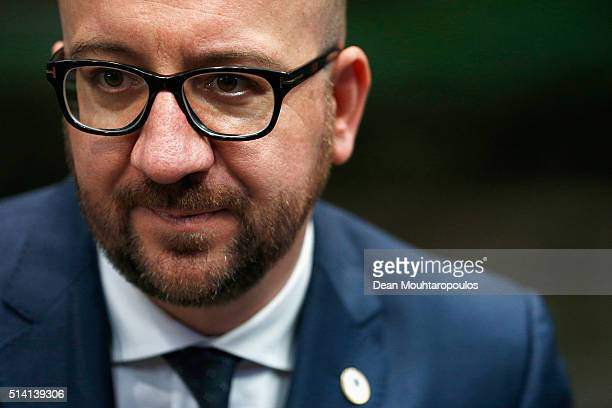 Prime Minister of Belgium Charles Michel arrives for The European Council Meeting In Brussels held at the Justus Lipsius Building on March 7 2016 in...