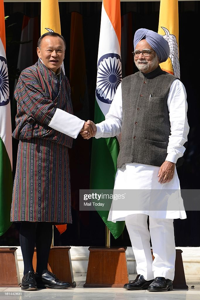 Prime Minister of Bhutan Lyonchhen Jigmi Y Thinley with Prime Minister Manmohan Singh before the meeting at 7RCR in New Delhi on Friday.