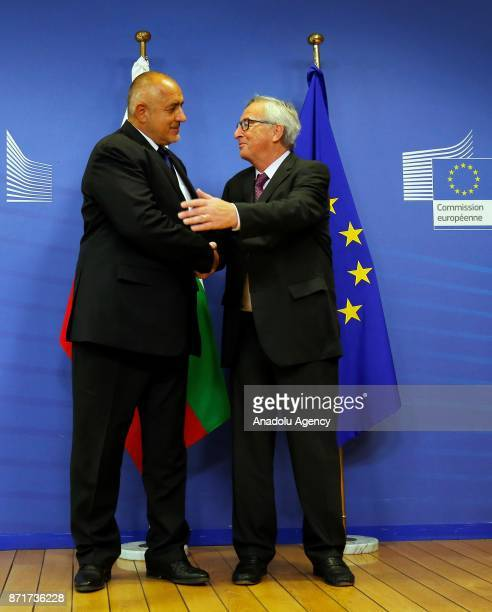 Prime Minister of Bulgaria Boyko Borisov and Jean Claude Juncker President of the European Commission shake hands during a joint press conference...