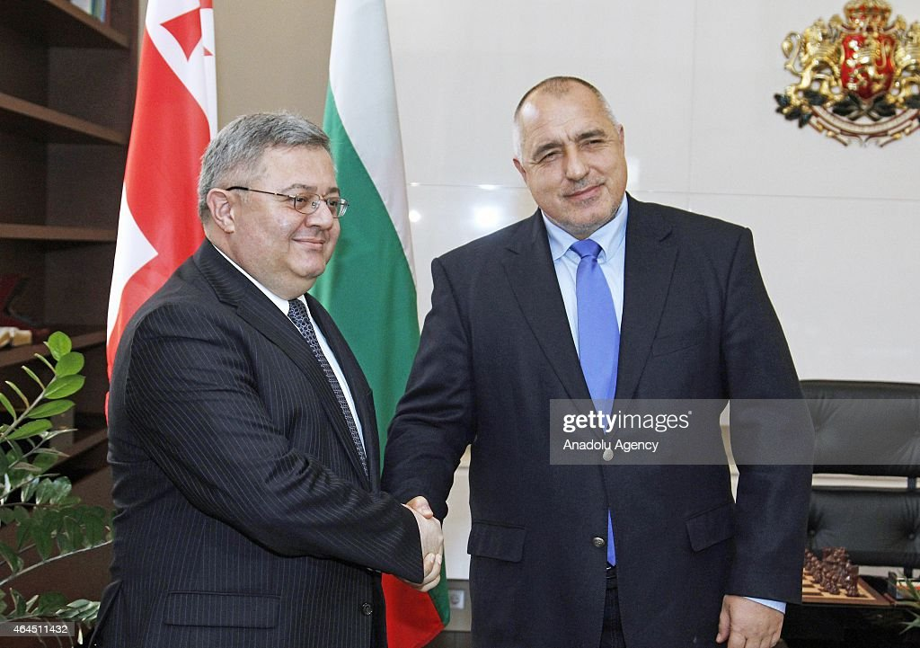 Prime Minister of Bulgaria <a gi-track='captionPersonalityLinkClicked' href=/galleries/search?phrase=Boyko+Borisov&family=editorial&specificpeople=5906164 ng-click='$event.stopPropagation()'>Boyko Borisov</a> (R) meets with the Speaker of the Parliament of Georgia, David Usupashvili (L) in Sofia, Bulgaria on February 26, 2015.