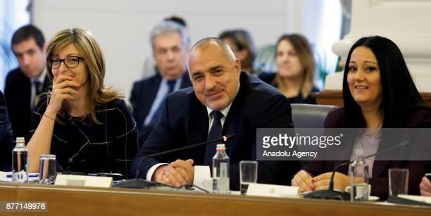 Prime Minister of Bulgaria Boyko Borisov speaks during a meeting with European Parliament Chief Antonio Tajani during their meeting in Sofia Bulgaria...