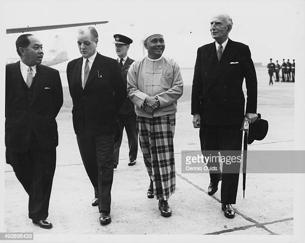 Prime Minister of Burma U Nu with Lord Reading arriving at London Airport June 16th 1955
