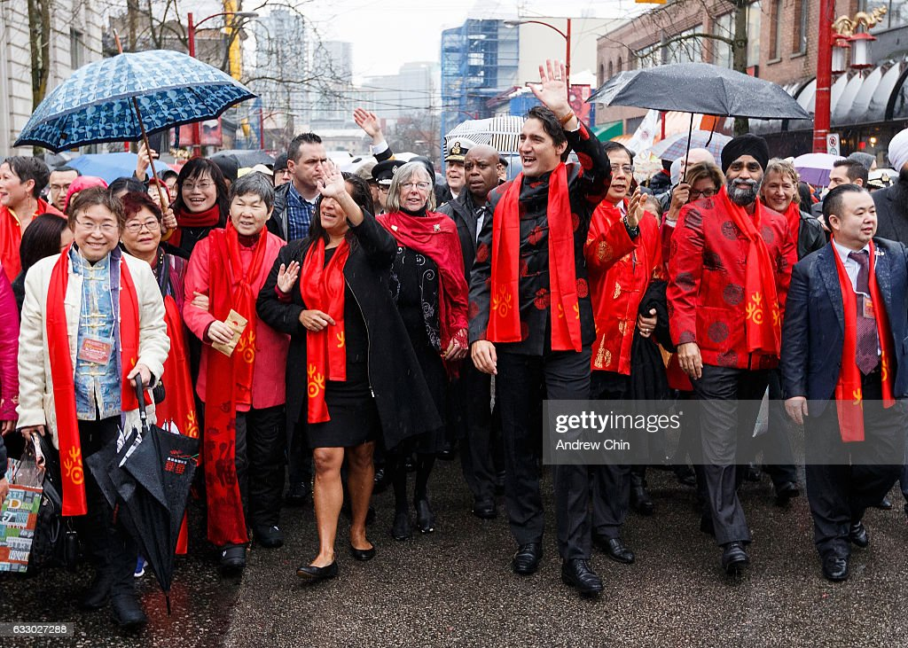 Prime Minister of Canada Justin Trudeau (fourth from the left) attends the 44th Vancouver Chinatown Spring Festival Parade on January 29, 2017 in Vancouver, Canada.