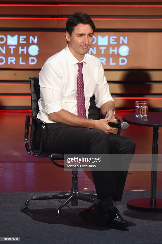 Prime Minister of Canada, Justin Trudeau speaks during the Eighth Annual Women In The World Summit at Lincoln Center for the Performing Arts on April 6, 2017 in New York City.