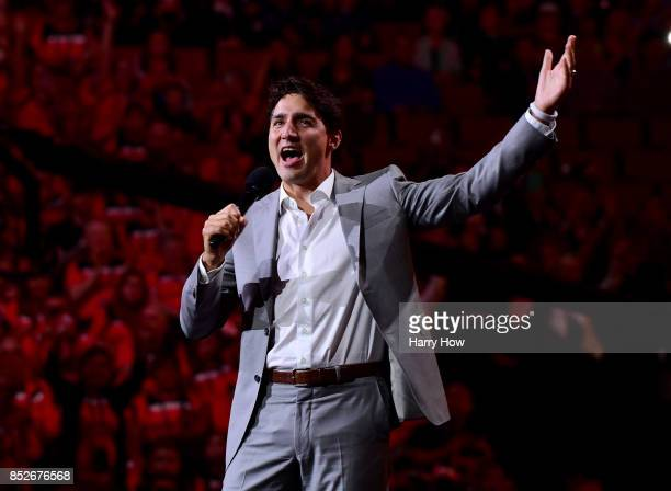 Prime Minister of Canada Justin Trudeau speaks during the opening ceremony of the 2017 Invictus Games at Air Canada Centre on September 23 2017 in...