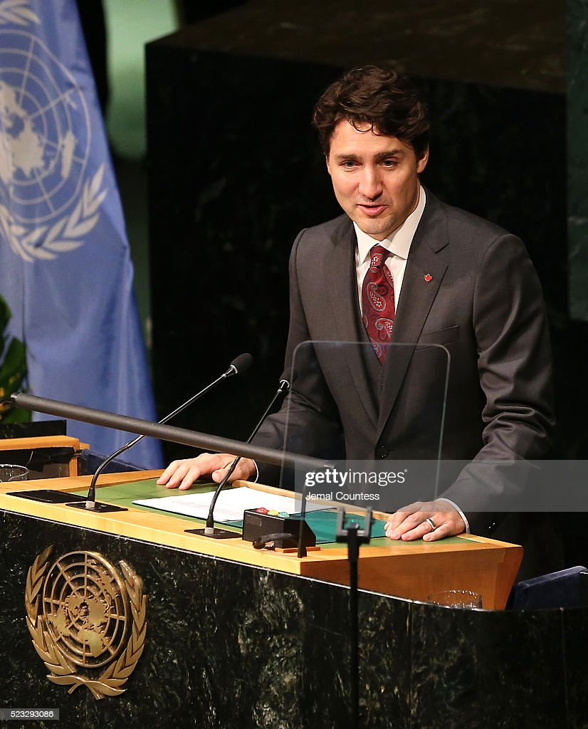 Prime Minister of Canada <a gi-track='captionPersonalityLinkClicked' href=/galleries/search?phrase=Justin+Trudeau&family=editorial&specificpeople=2616495 ng-click='$event.stopPropagation()'>Justin Trudeau</a> speaks prior to signing the Paris Agreement For Climate Change during the Paris Agreement For Climate Change Signing at United Nations on April 22, 2016 in New York City.